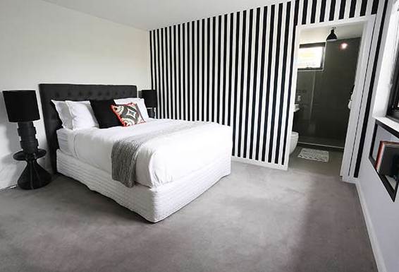 Black And White Striped Wallpaper Used By Bec And George The Block Sky High Wow Wallpaper Hanging