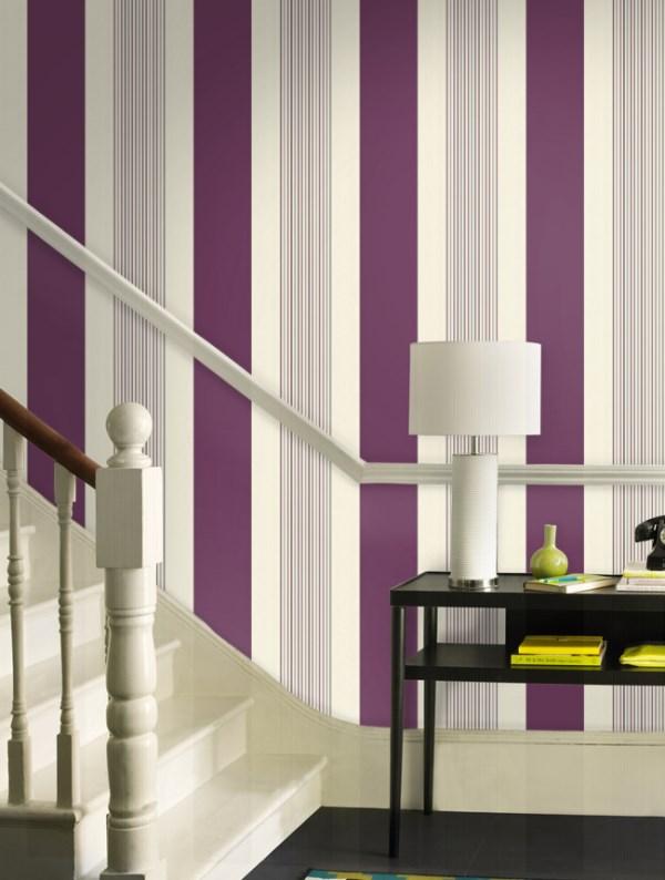 Green and Purple Striped Wallpaper Murals uk